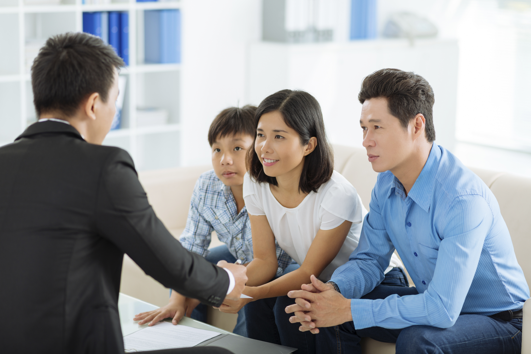 Photo of an attorney talking to a family
